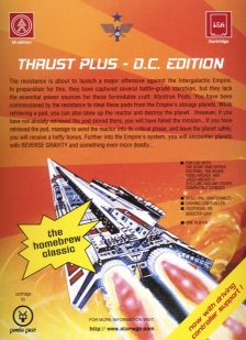 "Scan of the back of the Thrust+ Platinum Edition box, which distinguishes itself from the prior D.C. Edition with a sticker on the front declaring ""PLATINUM EDITION"" and describing the product's genesis."
